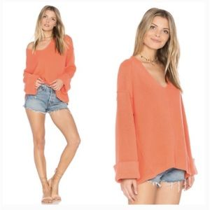 NWT Free People Oversized Cuffed Coral Sweater